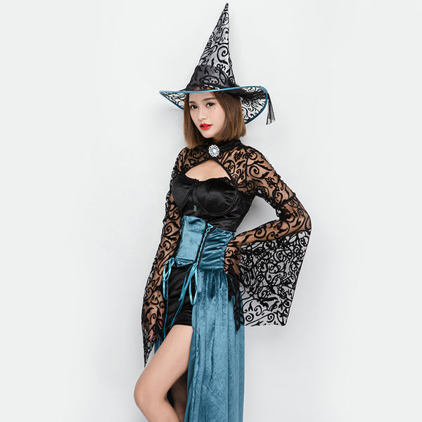 Black Sexy Muslin Witch Game Costume Halloween/Stage Performance/Party