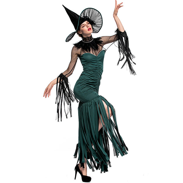 Green Fringed Witch Cosplay Costume Halloween/Stage Performance/Party