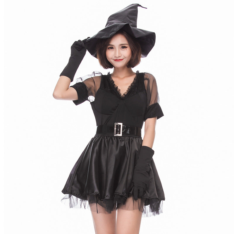 Black Muslin Mini Dress Witch Costume Halloween/Stage Performance/Party