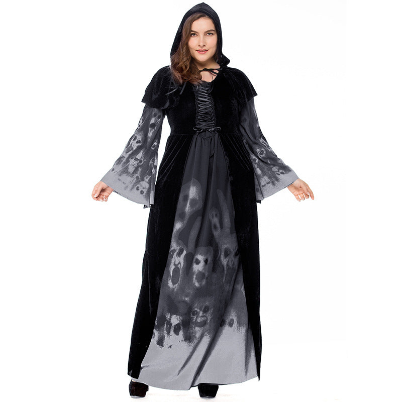 Plus Size Skeleton Printed Vampire Long Witch Costume Halloween/Stage/Party