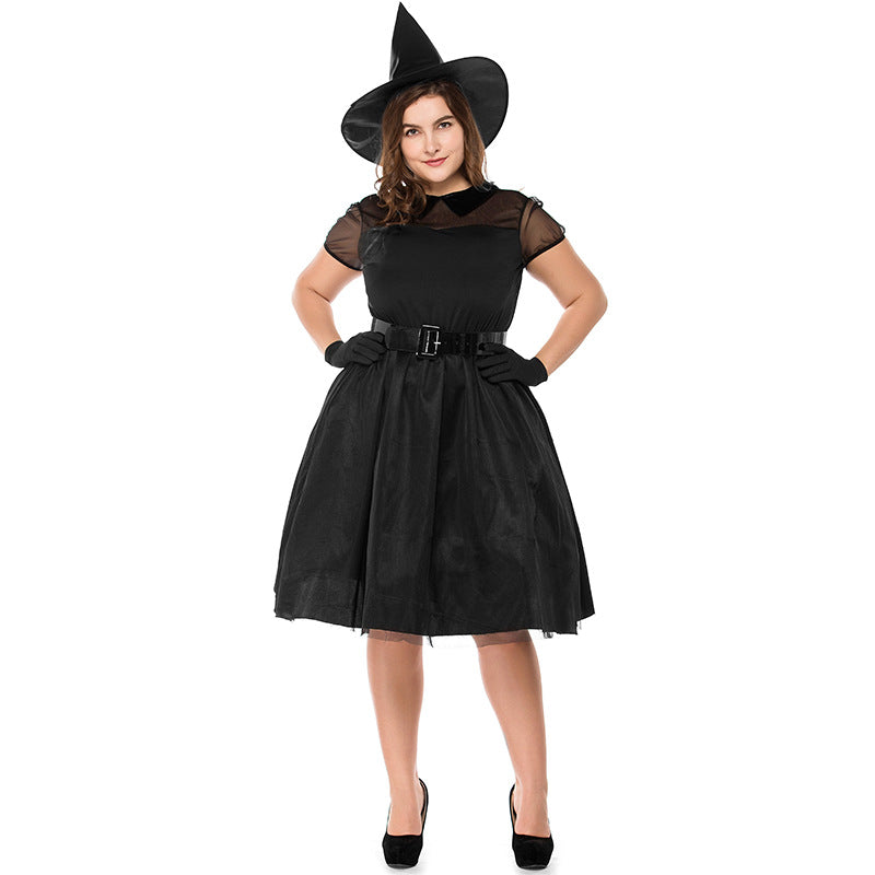 Plus Size Black Muslin Ghost Witch Cosplay Costume Halloween/Stage Performance/Party