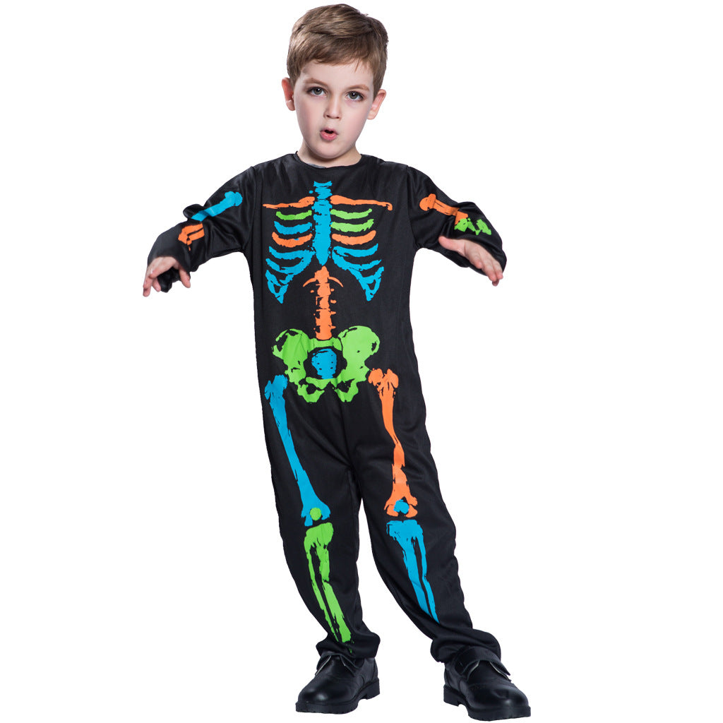 Kids Boys Colorful Skeleton Halloween Cosplay Costume