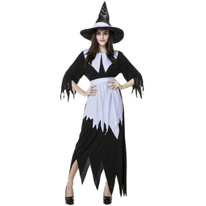 Black And White Irregular Witch Costume Halloween/Stage Performance/Party