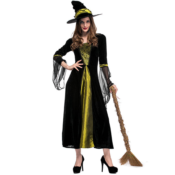 Black Spider Web Printed Black Yarn Witch Costume Halloween/Stage Performance/Party