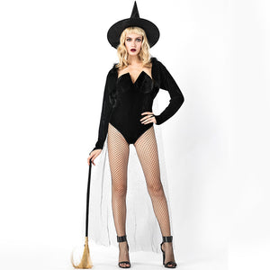 Sexy Black Classic Short Witch Cosplay Costume Halloween/Stage Performance/Party
