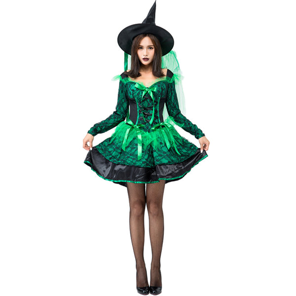 Lace Green Pouf Dress Witch Costume Halloween/Stage Performance/Party