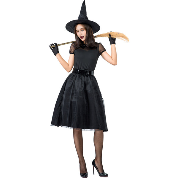 Simple Black Yarn Witch Cosplay Costume Halloween/Stage Performance/Party