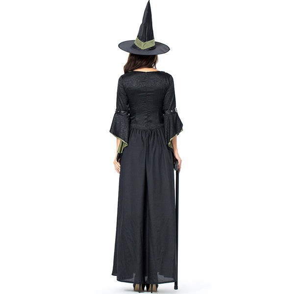 Black Green Leather Witch Cosplay Costume Halloween/Stage Performance/Party