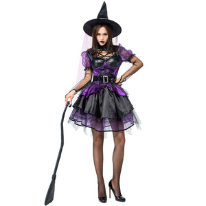 Deluxe Purple Muslin Tutu Dress Witch Costume Halloween/Stage Performance/Party