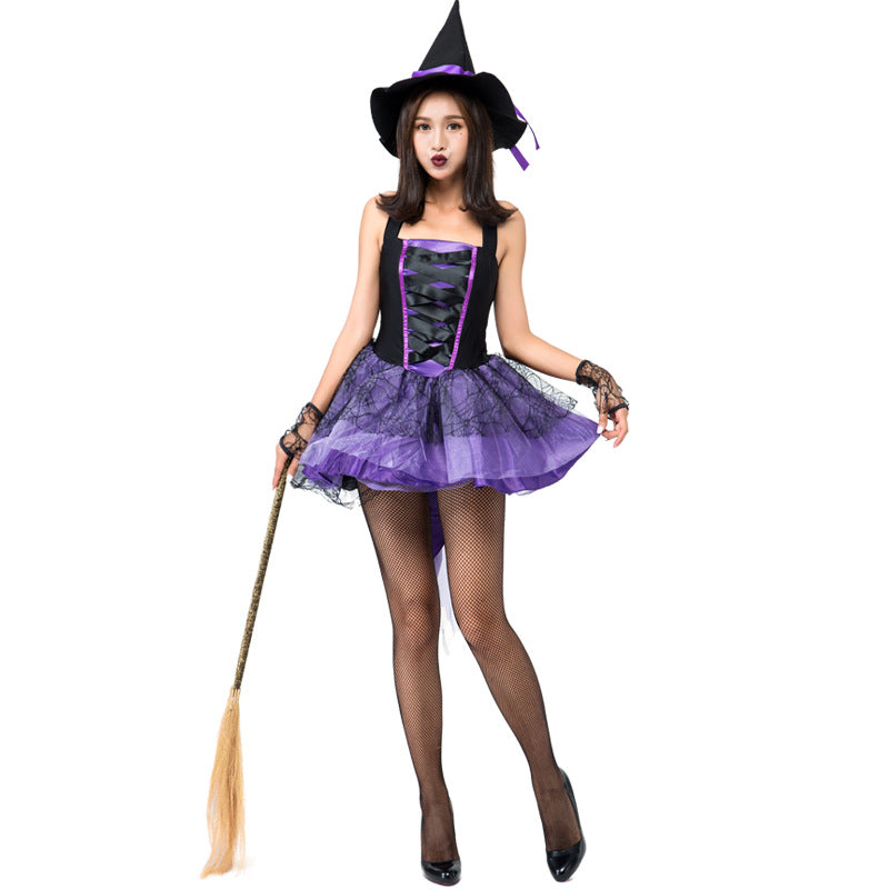 Sexy Purple Swallowtail Pouf Dress Sling Sleeveless Witch Costume Halloween/Stage Performance/Party