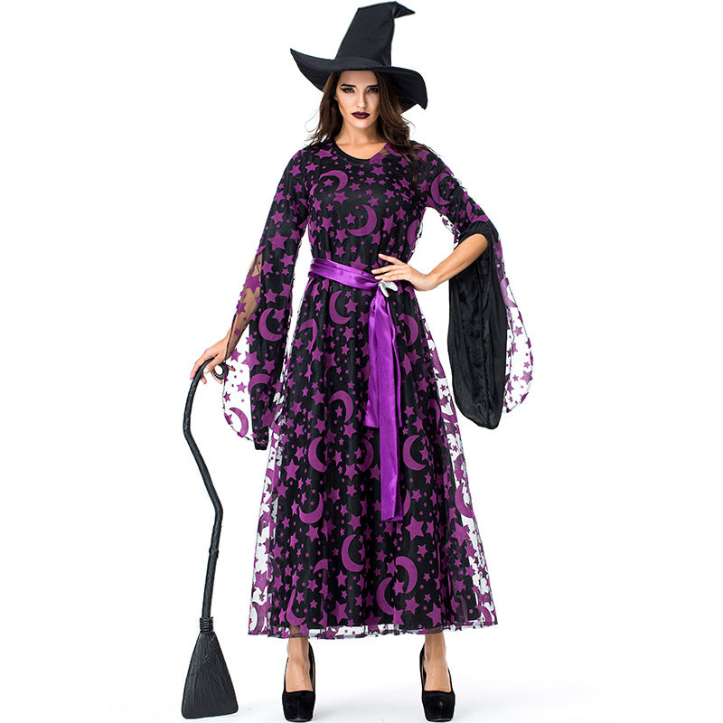 Purple Star Moon Magic Witch Costume Halloween/Stage Performance/Party