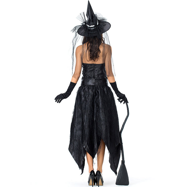 Black Tube Spider Web Witch Dark Queen Costume Halloween/Stage Performance/Party