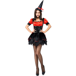 Cute Black Red Flame Witch Cosplay Costume Halloween/Stage Performance/Party
