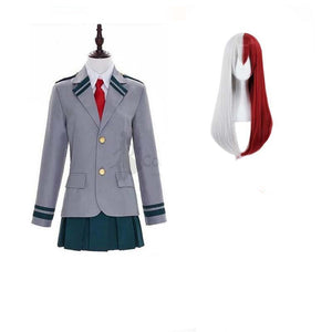 Boku No Hero / My Hero Academia Woman Shoto Todoroki School Uniform Cosplay Costumes with Wigs