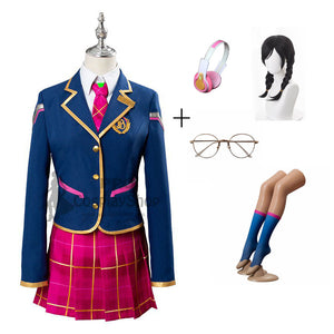 Overwatch D.Va Hana Song School Cosplay Costume Uniform Full Set With Wigs Headset Glasses Socks