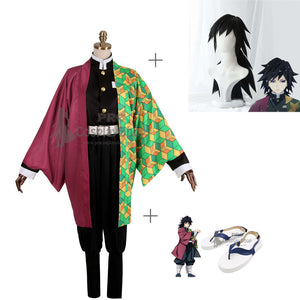 Anime Demon Slayer / Kimetsu no Yaiba Tomioka Giyuu Cosplay Costume With Wigs And Shoes