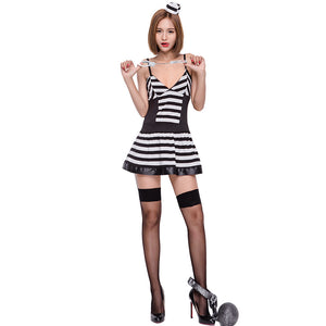Adult Women Sexy Prisoner Costume Dress