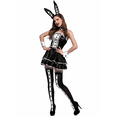 Adult Sexy Black Rabbit  Animal Cosplay Costume Halloween Dress For Women