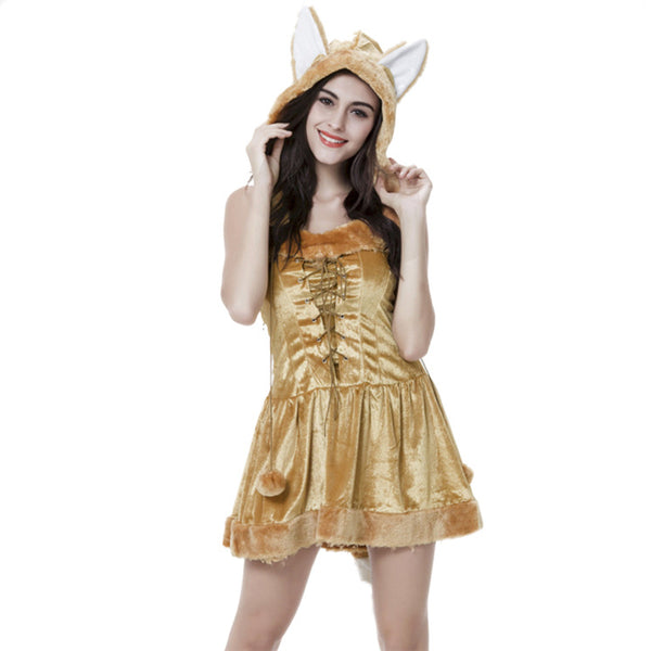 Adult Golden Fox Animal Cosplay Costume Halloween Dress For Women