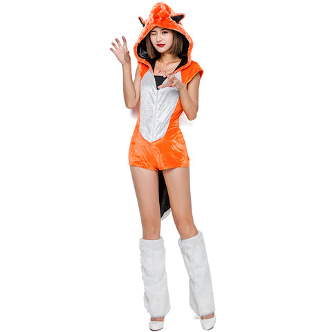 Adult Hooded Fox Jumpsuit Animal Cosplay Costume Halloween For Women