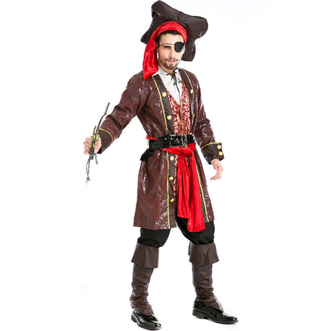 Adult Men's One-eyed Pirate Captain Cosplay Costume Halloween / Stage Performance / Party