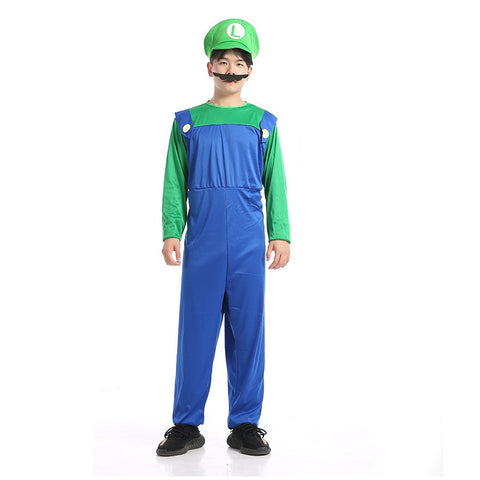 Adult Men's Super Mario Bros Green Luigi Cosplay Costume Halloween/Stage Performance/Party