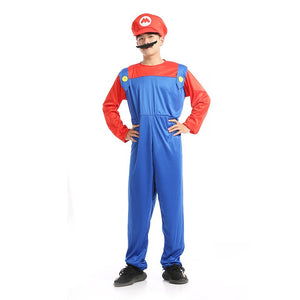 Adult Men's Super Mario Bros Red Cosplay Costume Halloween/Stage Performance/Party