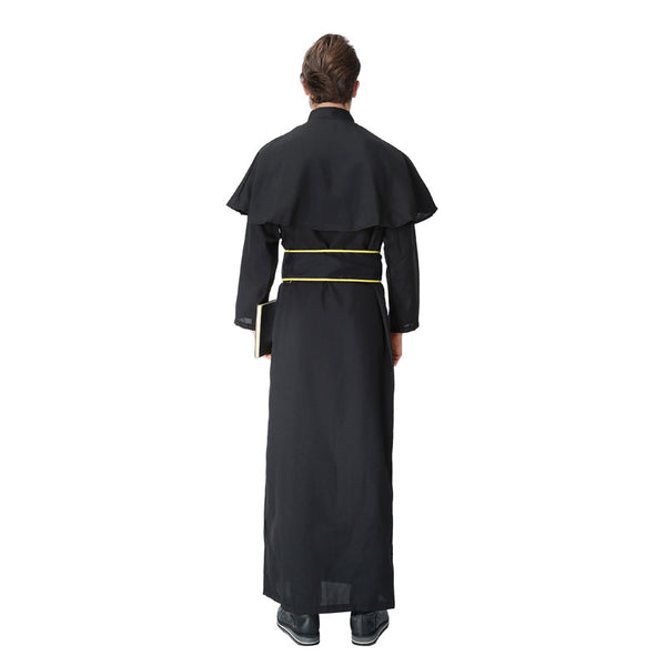 Adult Mens Deluxe Priest Costume For Halloween/Stage Performance/Party