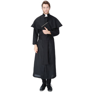 Adult Mens Priest Costume For Halloween/Stage Performance/Party