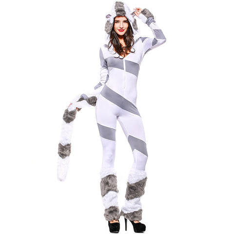 Adult Polar Bear Animal Cosplay Costume Halloween Jumpsuit For Women