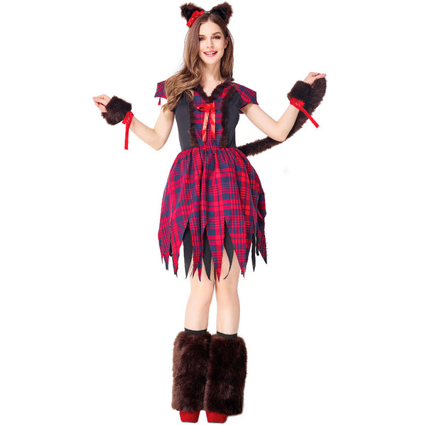Adult Red Wolf Animal Cosplay Costume Halloween Dress Women
