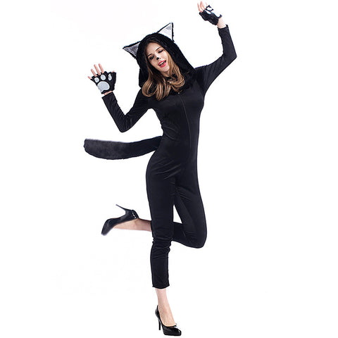 Adult Women Black Cat Halloween Cosplay Costume With Hat