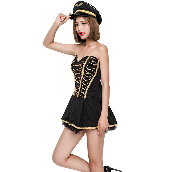 Black Tube Top Sexy Navy Sailor Costume