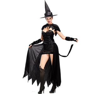 Adult Women Black Witch Cat Halloween Cosplay Costume Dress
