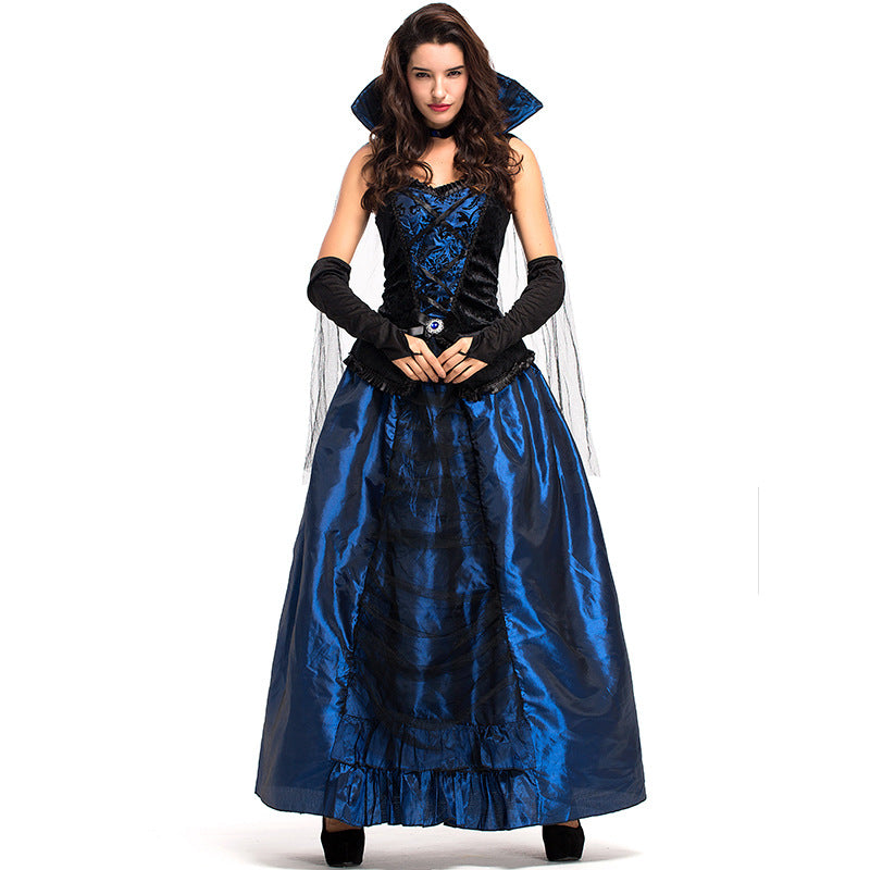 Adult Women Blue European Vintage Court Queen Dress Costume For Halloween/Stage Performance/Party