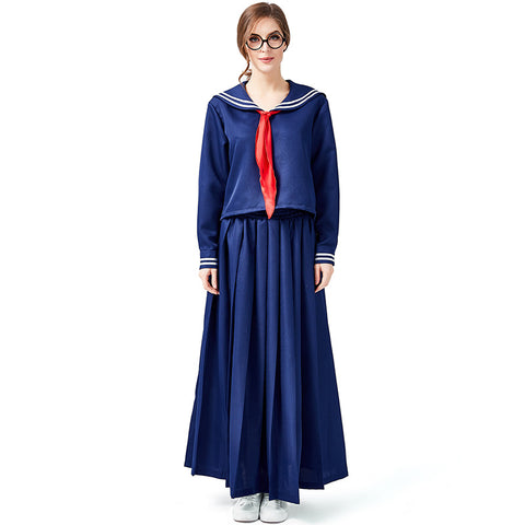 Blue Japanese School Girl Style Navy Sailor Costume