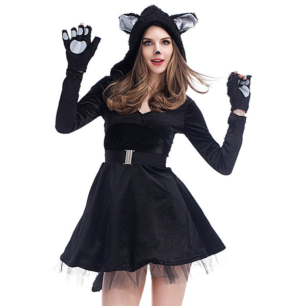 Adult Women Cute Black Bear Cat Halloween Cosplay Costume Dress