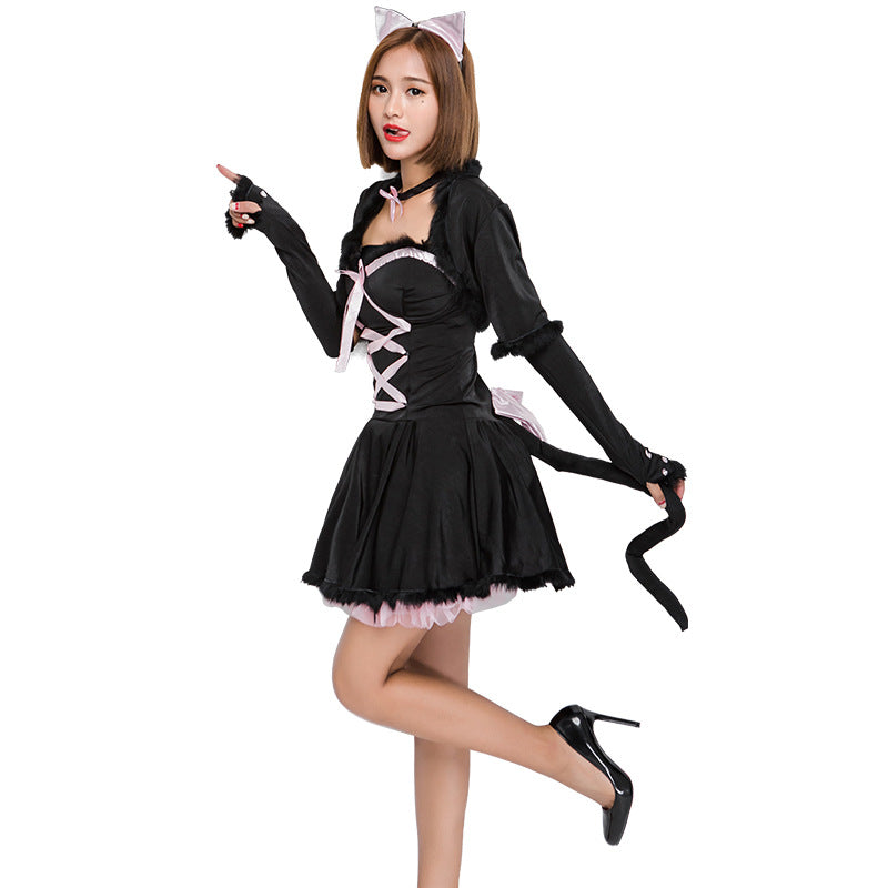 Adult Women Cute Black Cat Halloween Cosplay Costume Dress