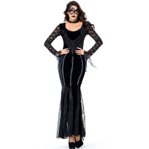 Adult Women Dark Mysterious Queen/Vampire Costume For Halloween/Stage Performance/Party