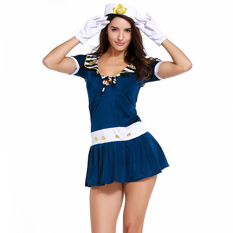 Deep Blud Navy Sailor Mini Dress Costume