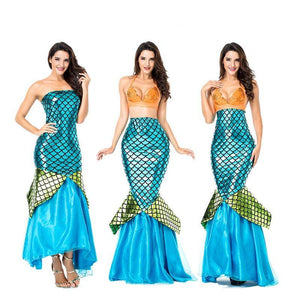 Adult Women Deluxe Mermaid Tail Princess Dress Costume For Halloween/Stage Performance/Party