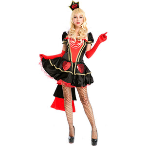 Adult Women Deluxe Poker Queen of Hearts Mini Dress Costume For Halloween/Stage Performance/Party