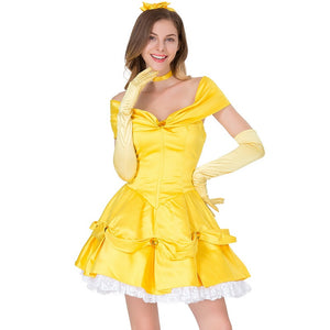 Adult Women Disney Beauty And The Beast Belle Princess Yellow Tutu Dress Costume Halloween / Stage Performance / Party