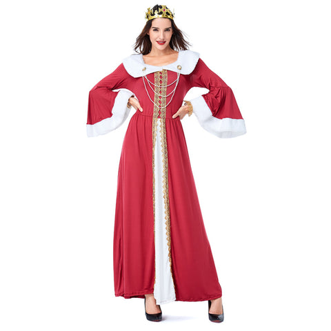 Adult Women European Vintage Court Medieval Queen Costume For Halloween/Stage Performance/Party