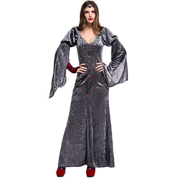 Adult Women Gray European Vintage Court Queen Dress Costume For Halloween/Stage Performance/Party