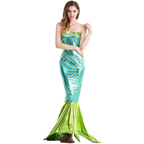 Adult Women Green Mermaid Princess Dress Costume For Halloween/Stage Performance/Party