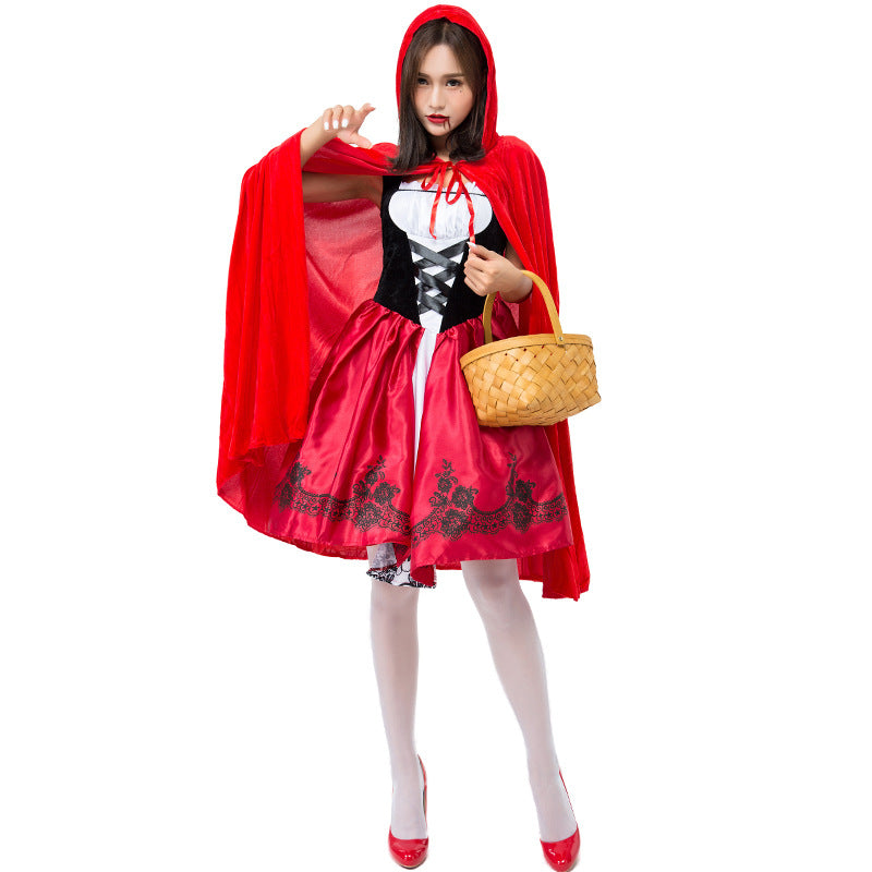Adult Women Japanese Style Little Red Riding Hood Costume For Halloween/Stage Performance/Party ...