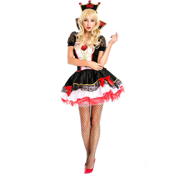 Adult Women Leg Aevenue Poker Queen of Hearts Costume For Halloween/Stage Performance/Party