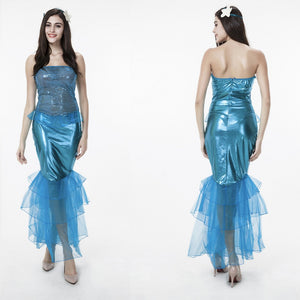 Adult Women Mermaid Sequin Muslin Princess Dress Costume For Halloween/Stage Performance/Party