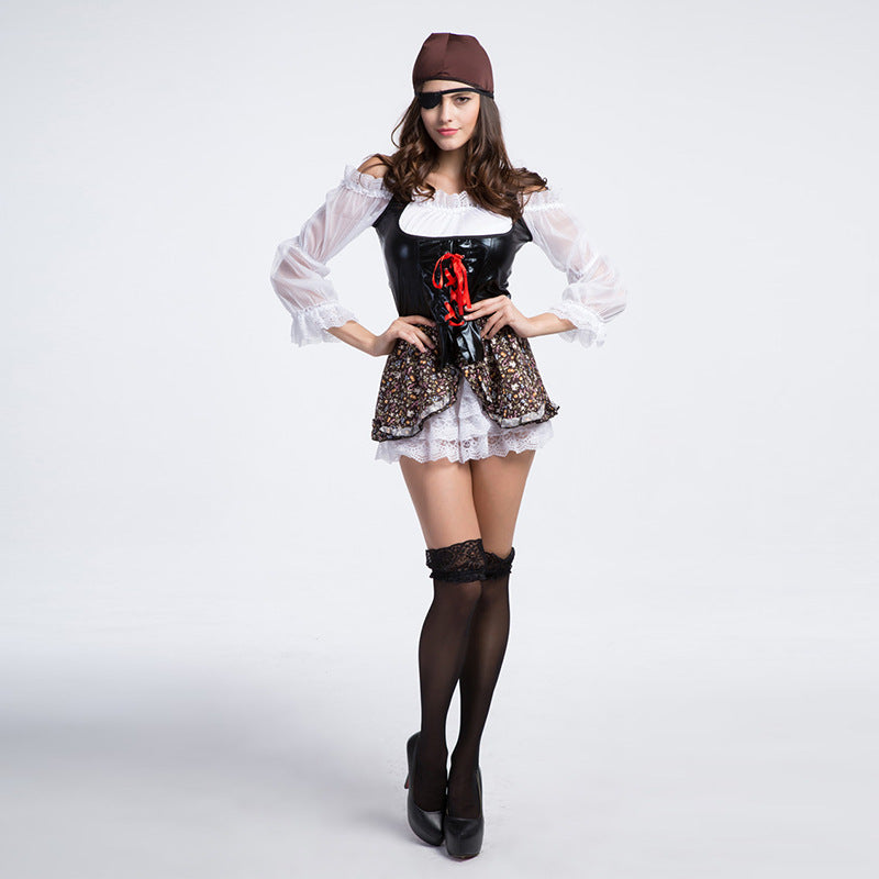 Adult Women One-eyed Pirate Captain Costume Halloween / Stage Performance / Party